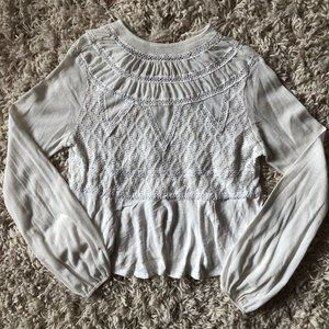 Free People Bubble Sleeve Lace Top